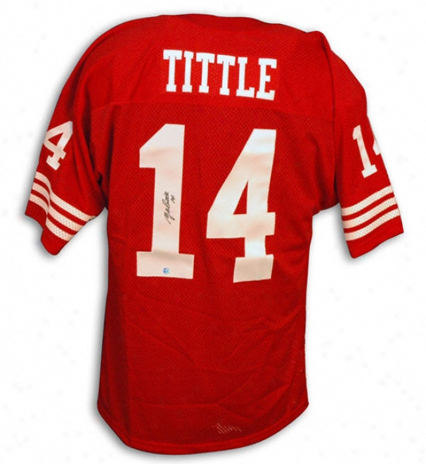 Y.a. Tittle Autographed Throwback Red Jersry