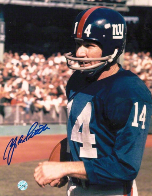 Y.a. Tittle New York Giants Autograpged 8x10 Photo Blue Jersey With Ball
