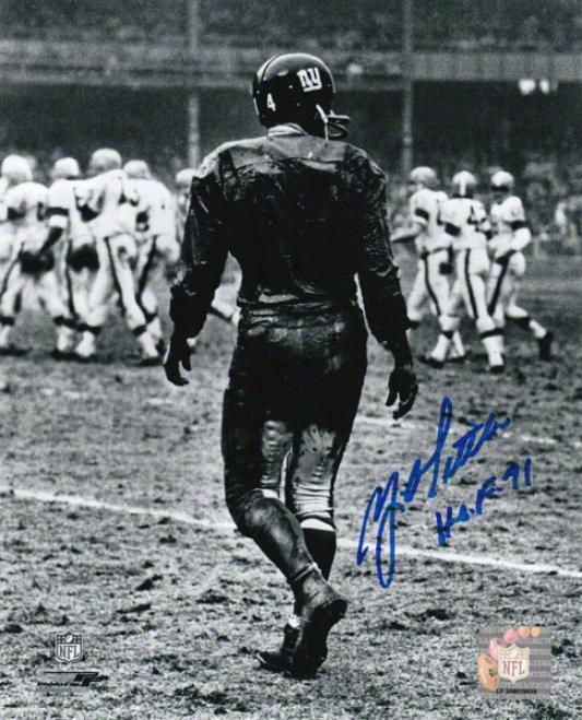 Y.a. Tittle Recent York Giants Autograpehd 8x10 Photograph With Hof 71 Inscription