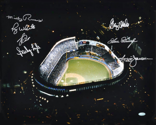 Yankee Stadium Autographed Aerial 16x20 Photograph With 7 Signatures