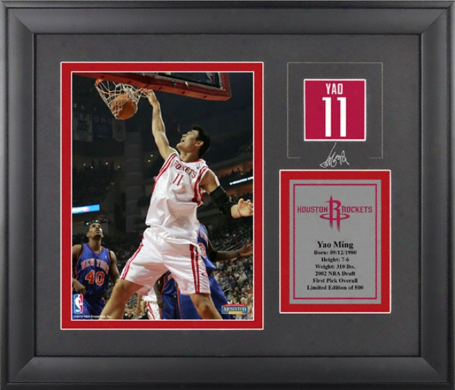 Yao Ming Houston Rockets Framed 6x8 Photograph With Facsimile Signature And Plate - Limited Edition Of 500