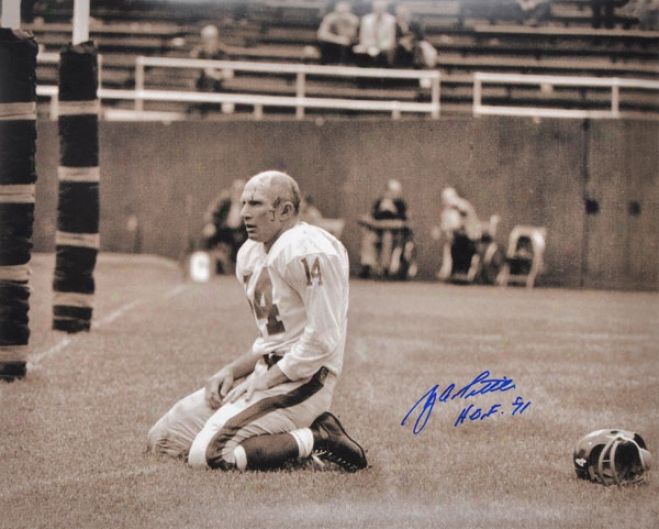 Y.a.tittle Autographed Phofograph  Details: Starting a~ York Giants,16x20, Hof 71 Inscription