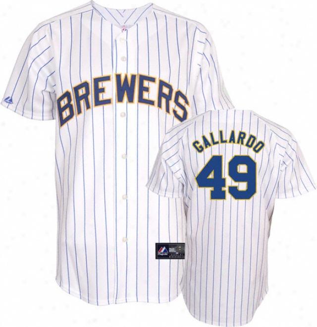 Yovani Gallardo Jersey: Adult Majestic Alternate Pnistripe Replica #49 Milwaukee Brewers Jersey