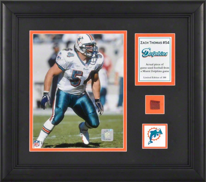 Zach Thomas Framed 8x10 Photograph  Details: Miami Dolphins, Wkth Game Used Football Piece And Descriptive Plate
