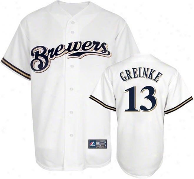 Zack Greinke Jersey :Adult Majestic Home White Replica #13 Milwaukee Brewers Jersey
