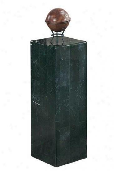 """10"""" Marble Fascia Square Pedestal - 36""""h, Blafk"""