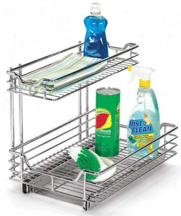 """12"""" When exposed to Sink Sliding Organizer - 14.25""""hx12.5""""w, Silver Chrome"""