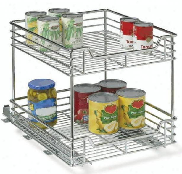 """14.5"""" Sliding Organizer - 2-tier, Silvery Chrome"""