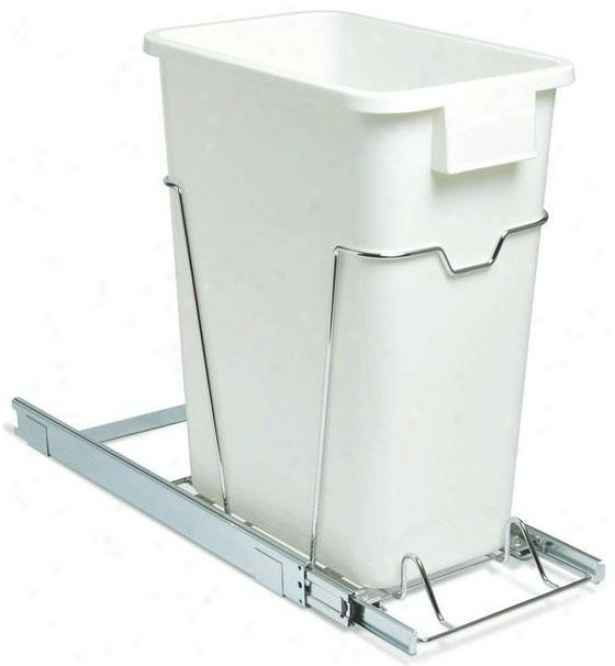 """19"""" Sliding Organizer With 9 Gallon Waste Bin - 19.25""""hx9.5""""w, White"""