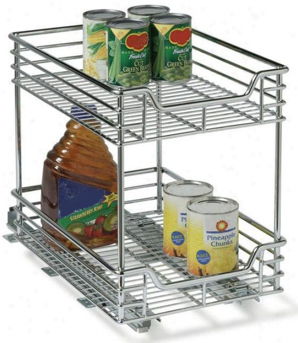 """2 In 1 Transformer Sliding Organizer - 16""""hx9.5""""w, Silver Chrome"""