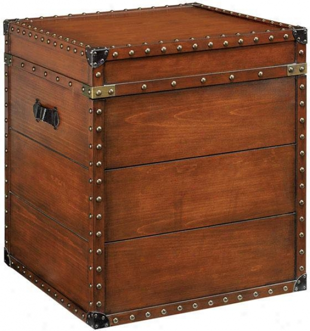 """""""22.25"""""""" Square Steamer Trunk Side End Table - 23.5""""""""hx20""""""""w, Brown"""""""