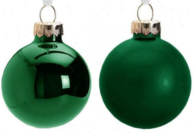 """2.75"""" Glass Ornaments - Placed Of 12 - Set Of Twelve, Green"""