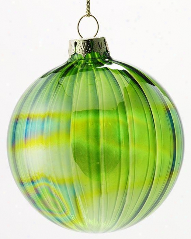 """2.75""""h Glass Ornament - Set Of 4 - Stake Of Four, Green"""