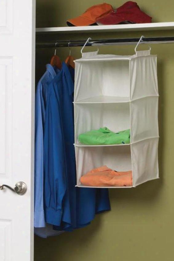 """""""3-shelf Sweater Organizer - 24""""""""hx12""""""""w, Ivory"""""""