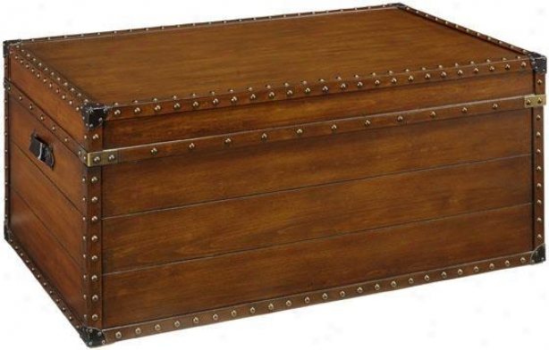 """37""""w Steamer Trunk Coffee Tabld - 17.5""""hx3""7""w, Brown"""