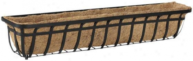 """48"""" Flat Iron Deck Window Planter - 8""""hx48""""wx7""""d, Black"""
