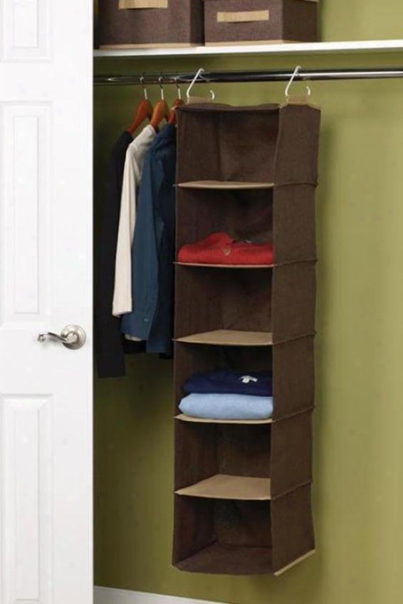 """""""6-shelf Organizer - 50""""""""hx12""""""""w, Coffee Linen"""""""