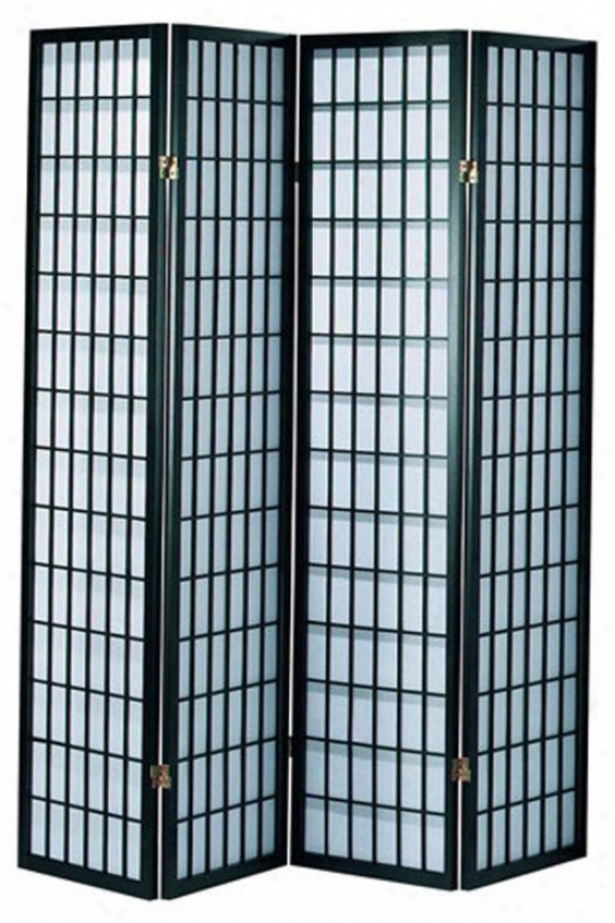 """71"""" 4-panel Classic Room Divider - 4-panel 71""""h, Black"""
