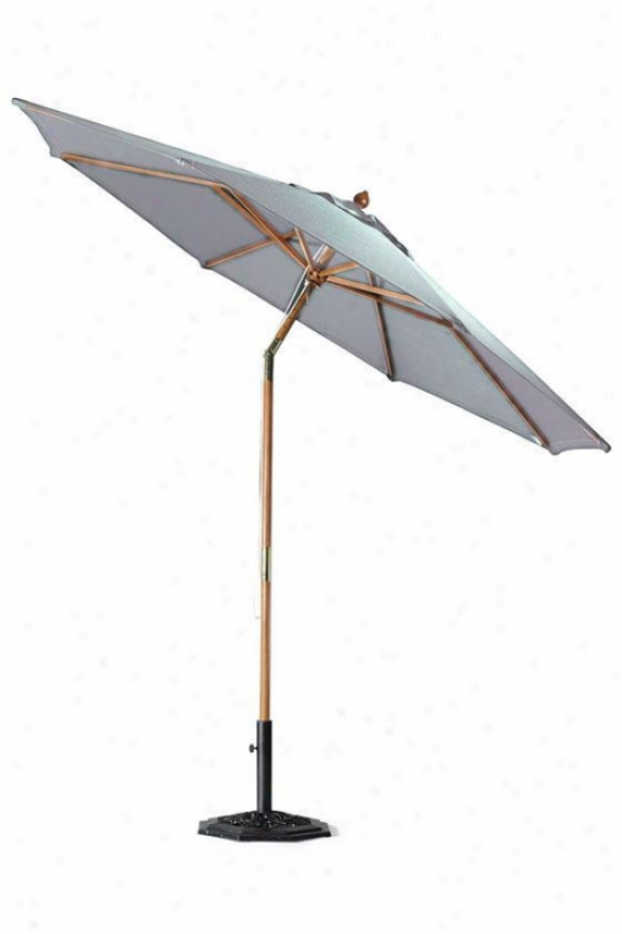 9'd Pulley Outdoor Sun Market Umbrella With Tilt - 9'd, Grey