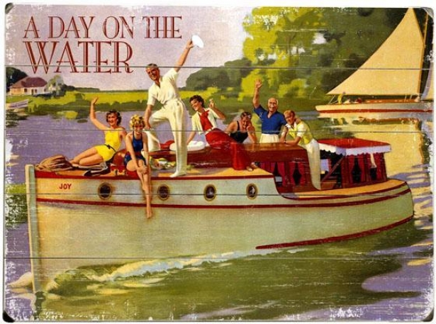 """a Day On The Water Wooden Sign - 20""""hx14""""w, Purple"""