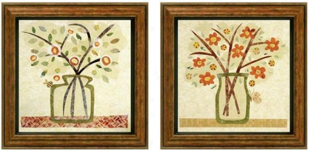 A Jar Of Flowers Framed Wall Art - Set Of 2 - Set Of Two, Earthtones