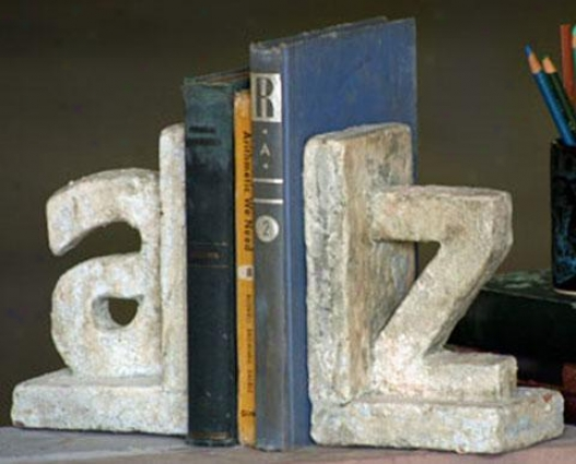 A To Z Ceramic Bookends - Set Of 2 - Set Of 2, White