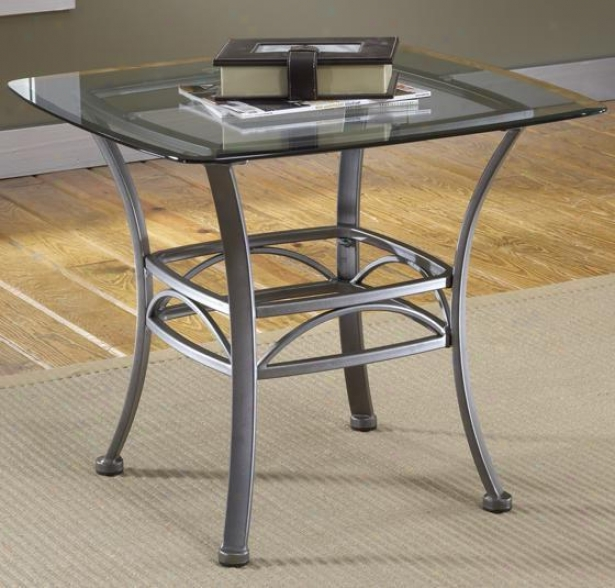 Abbington Square Side End Synopsis - Glass Top, Dark Pewter