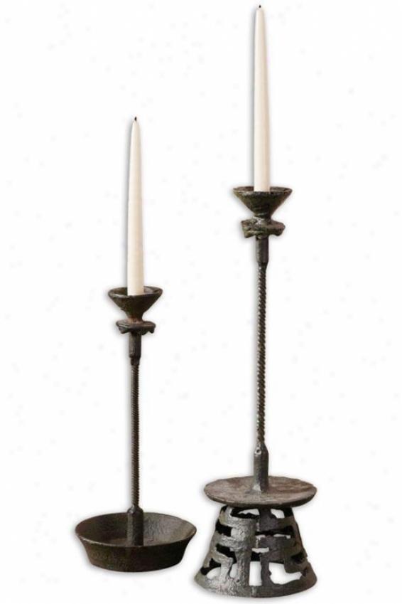 Abdon Candleholders - Set Of 2 - Set Of 2, Black