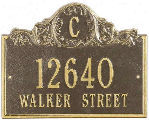 Acanthus Two Line Lawn Address Plaque - Standard 2 Line, Copper