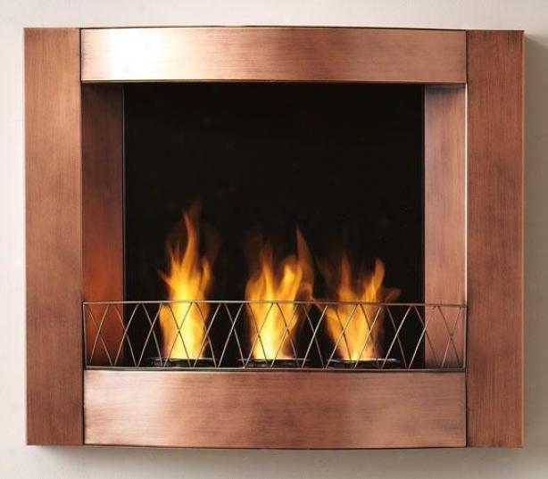"""aidan Wall Mount Fireplace - 277""""wx23""""hx5.5""""d, Copper"""