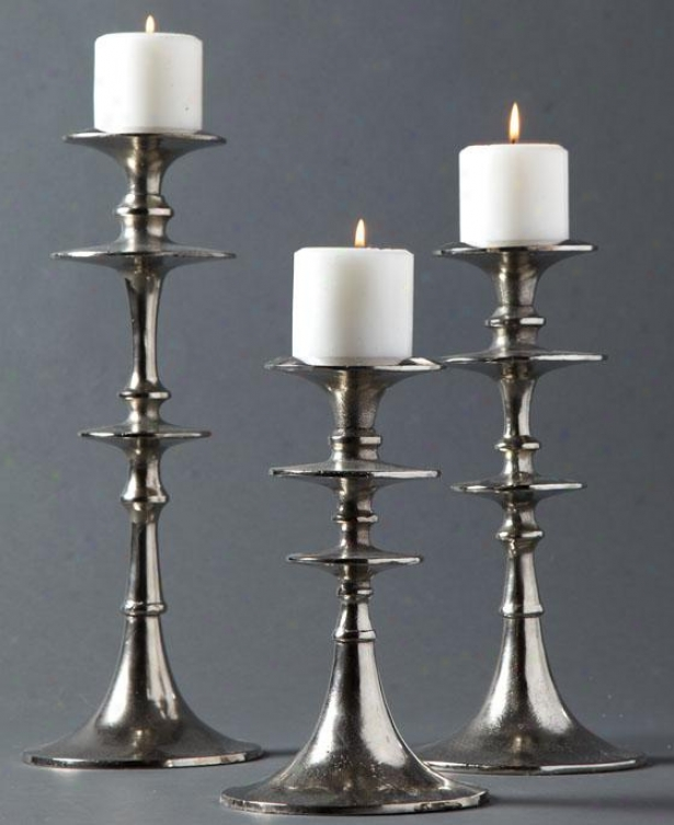 Aladdin Candlesticks - Set Of 3 - Set Of Three, Silver