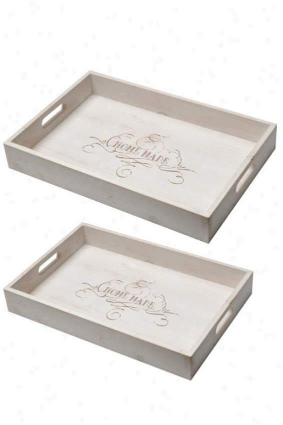 Alana Tray - Set Of 2 - Set Of Two , White