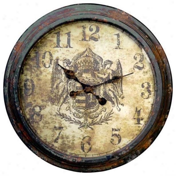 """""""albertine Wall Clock - 25 X 3"""""""", Distressed Grn"""""""