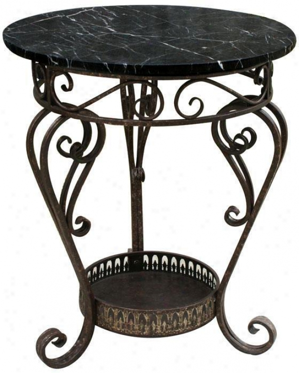 Alexander Marble Top Occasional Table - Round, Black