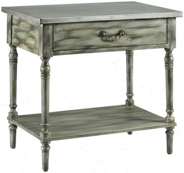 """alice Accent Table - 27""""x29"""", Harden Gray Pewter"""