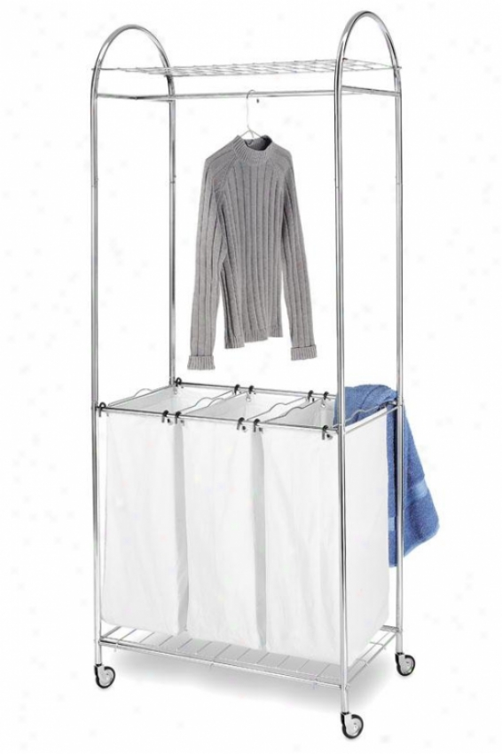 """""""all-in-one Chrome Laundry Center - 74""""""""hx30""""""""wx16""""""""d, White/chrome"""""""