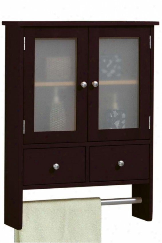 Amanda Wall Cabinet With Towel Bar - 2door/2drawer, Brown