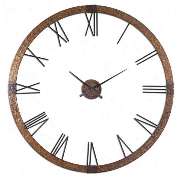"""amarion Clock - 60""""h X 60""""w, Copper/black"""