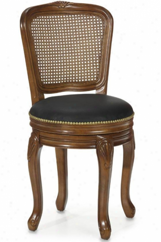 """amboise Hand-carved 18""""w Side Chair - Black Lthr/cane, Tan"""