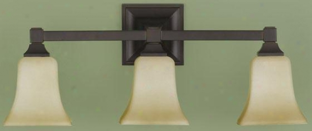American Foursquare Vanity Fixture - Three Light, Oil Rub Bronze