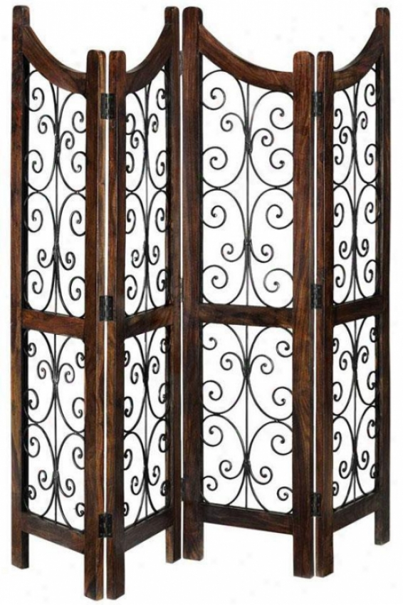 """ananti Place Divider - 72""""hx70""""w, Brown Wood"""