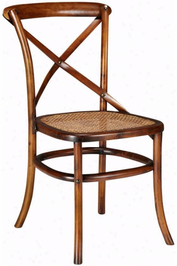 Anna Bentwood Side Chairs - Set Of 2 - Cane Seat, Brown