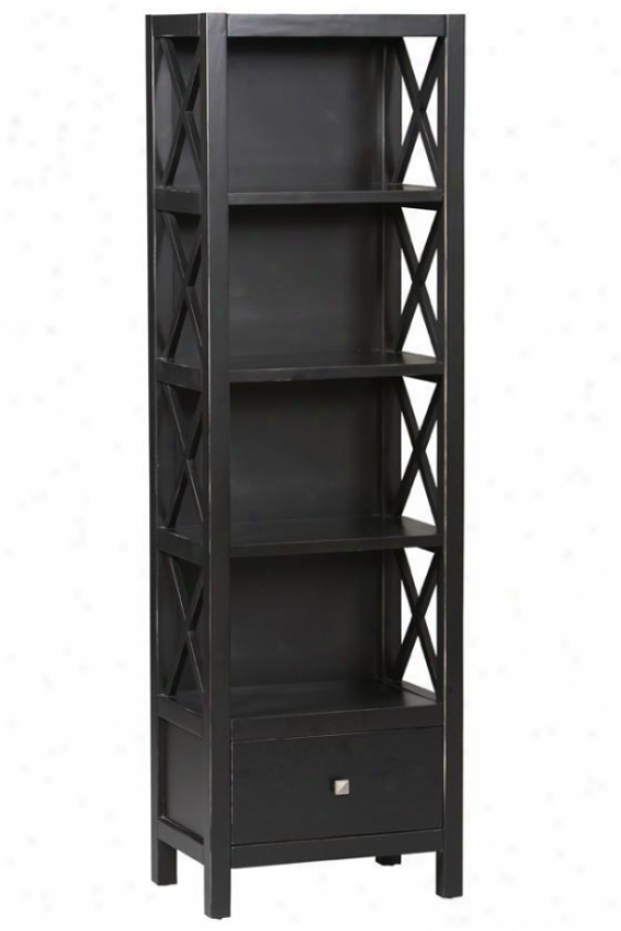 """anna Narrow Bookcase - 72""""hx22""""w, Black"""