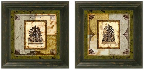 Antefix Framed Wall Art - Set Of 2 - Set Of Two, Green