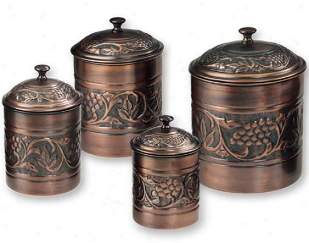 Ancient rarity Heritage Embossed Canisters - Set Of 4 - Set Of Four, Copper