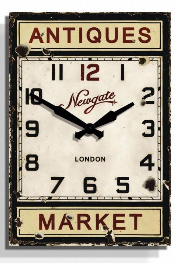 """""""antique Market Wall Clock - 24.5"""""""" X 17x1.75, Black"""""""