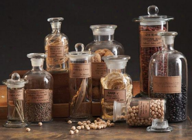 Apothecary Jars - Set Of 9 - Set Of Nine, Clear