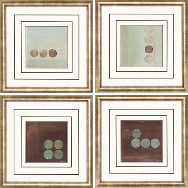 Aqua Framed Wall Art - Set Of 4 - Set, Brown