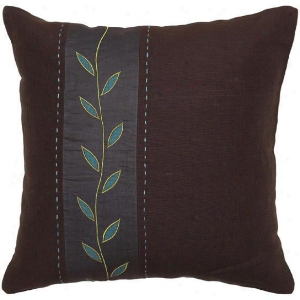 """aqua Gordon Pillows - Flow Of 2 - 18""""x18"""", Chocolate Brown"""