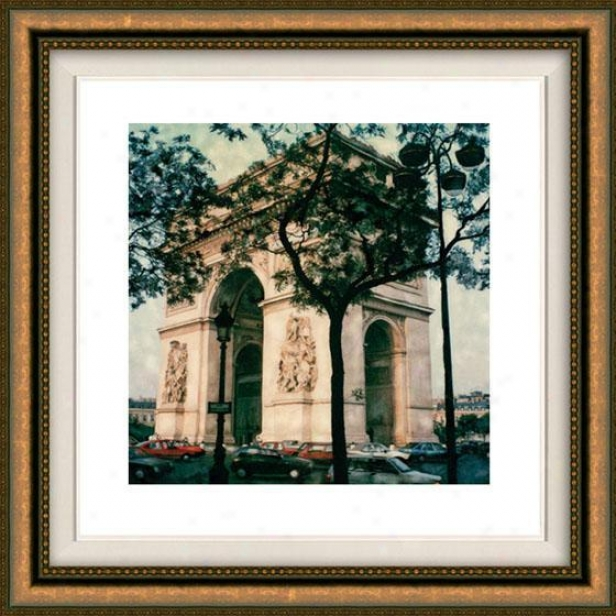 """arc De Triomphe Framed Wall Art - 32""""hx32""""w, Floated Gold"""